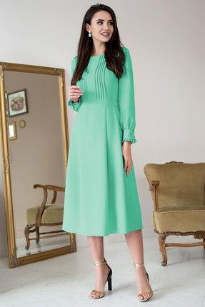Купить Платье ЮРС 19-979-2 салатовый, Вечерние платья, 19-979-2, салатовый, Тип ткани: костюмно-плательная. Состав: полиэстер 71%, вискоза 23%, спандекс 6%, Мультисезон