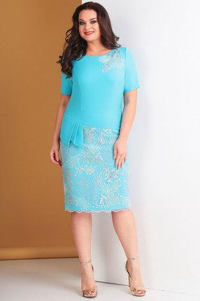 Платье Ксения Стиль 1635 голубой, Повседневные платья, 1635, голубой, п/э 71%, вискоза 23%, спандекс 6% (текстиль) п/э 100% (гипюр), Мультисезон  - купить со скидкой