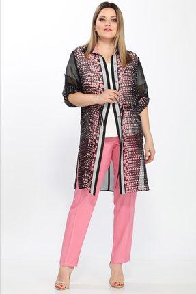 Купить Комплект брючный Lady Secret 2492 розовый с черным, Брючные, 2492, розовый с черным, Кардиган: ПЭ 96%, вискоза 4%. Майка: Вискоза 95%, спандекс 5%. Брюки: ПЭ 76%, вискоза 20%, спандекс 4%., Лето