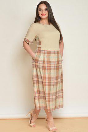 Купить Платье Lady Style Classic 1581 бежевый, Повседневные платья, 1581, бежевый, Верх: Хлопок 68%, пэ 30%, пу 2%. Низ: Вискоза 54%, па 46%., Лето