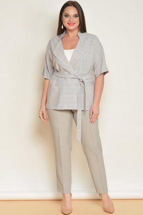 Комплект брючный Lady Style Classic 1403 бежевый с светло-серым