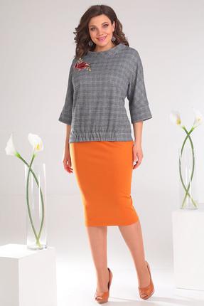 Комплект юбочный Мода-Юрс 2468 оранжевый+серый