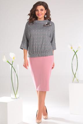 Купить Комплект юбочный Мода-Юрс 2468 серый с розовым, Юбочные, 2468, серый с розовым, Блузон: ПЭ 80%, вискоза 15%, спандекс 5%. Юбка: ПЭ 65%, вискоза 30%, спандекс 5%., Мультисезон