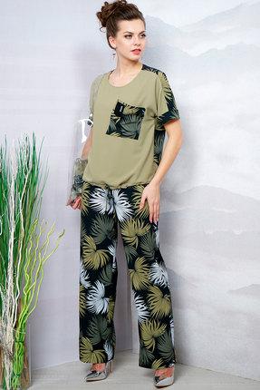 женский брючный костюм olegran, оливковый