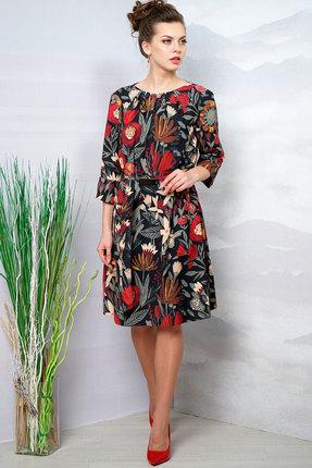Купить Платье Olegran о-664 черный с красным, Повседневные платья, о-664, черный с красным, ПЭ – 95%, спандекс – 5%, Лето