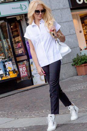 Купить Комплект брючный Vesnaletto 2041 белый с графитовым, Брючные, 2041, белый с графитовым, Блузка: 97% хлопок, 3% спандекс. Брюки: 65% хлопок, 30% пэ, 5% спандекс , Лето