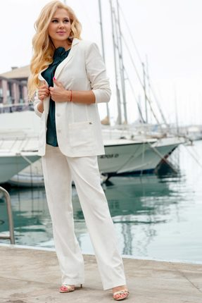 Комплект брючный Vesnaletto 2045-2 белый, Брючные, 2045-2, белый, Жакет и брюки: 100% лён. Блузка: 40% лён, 60% хлопок., Лето  - купить со скидкой