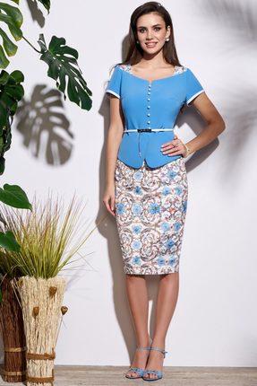 Комплект юбочный Lissana 3635 голубой с белым