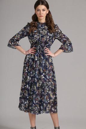 Купить Платье Магия Моды 1555 темно синие тона, Повседневные платья, 1555, темно синие тона, ПЭ 100%, Мультисезон