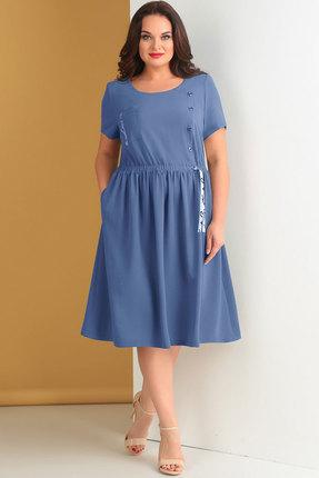Купить Платье Ксения Стиль 1642 синий, Повседневные платья, 1642, синий, п/э 72%, вискоза 24%, спандекс 4%, Лето