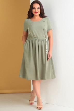 Купить Платье Ксения Стиль 1642 хаки, Повседневные платья, 1642, хаки, п/э 72%, вискоза 24%, спандекс 4%, Лето