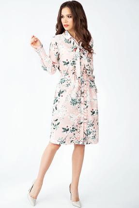 Купить Платье Teffi style 1400 розовый, Повседневные платья, 1400, розовый, Ткань – шифон-стрейч, Мультисезон