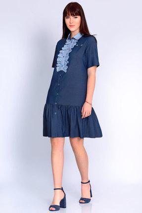 Купить Платье Джерси 1778 синий, Повседневные платья, 1778, синий, Вискоза 68%, ПЭ 30%, ПУ 2%., Лето