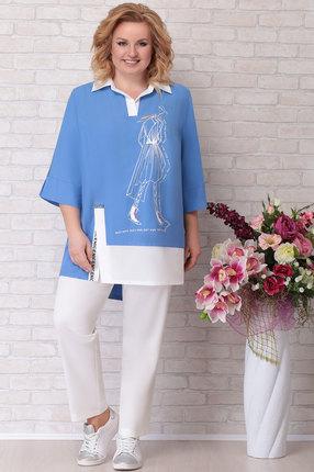 Комплект брючный Aira Style 671 синий с белым