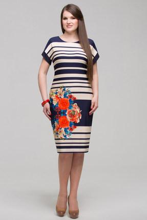 Платье Matini 3791 синий с бежем от PRESLI
