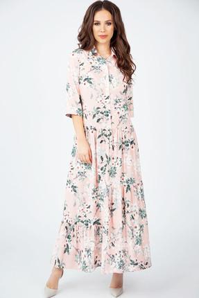 Купить Платье Teffi style 1397 розовый, Повседневные платья, 1397, розовый, Ткань шифон-стрейч, Мультисезон