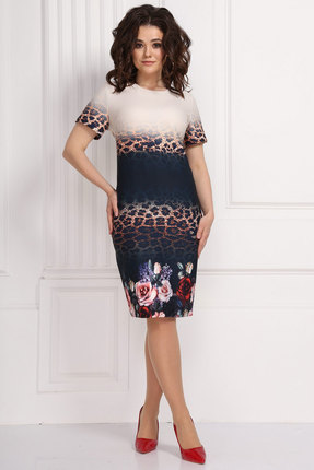 Платье Solomeya Lux 578 синий с цветами
