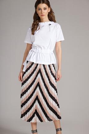 Комплект юбочный Магия Моды 1580 белый с бежевым