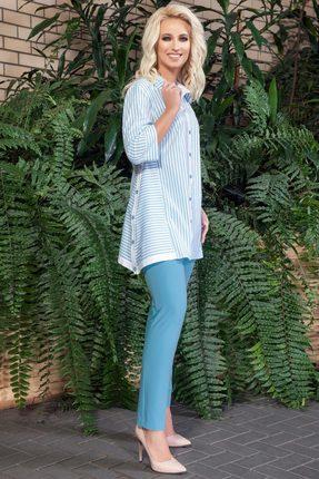Комплект брючный DilanaVIP 1288 белый с голубым
