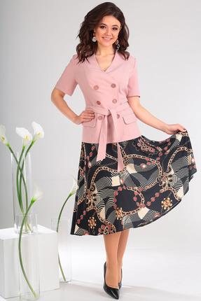 Купить Комплект юбочный Мода-Юрс 2470 розовый, Юбочные, 2470, розовый, Жакет: ПЭ 80%, вискоза 15%, спандекс 5%. Юбка: ПЭ 92%, эластан 8%., Мультисезон