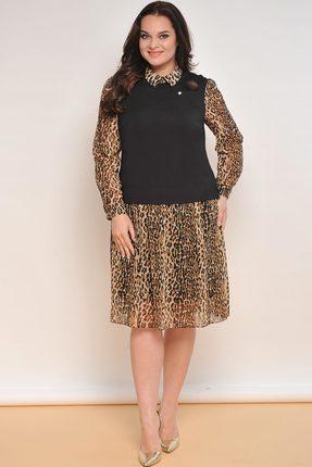 Купить Платье Lady Style Classic 1731 черный с леопардовым, Повседневные платья, 1731, черный с леопардовым, Черный: Вискоза 70%, ПЭ 27%, ПУ 3%. Леопард: ПЭ 95%, ПУ 5%. Подкладка: ПЭ 100%., Мультисезон