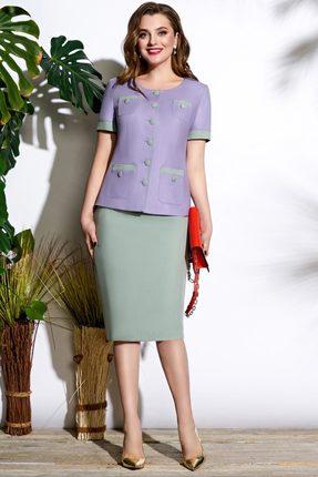 Комплект юбочный Lissana 3673 сиреневый с зеленью