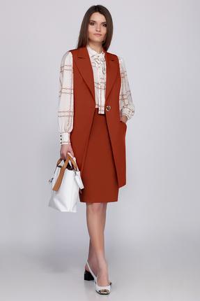 Купить Комплект юбочный B&F 1840 оранжевые тона, Юбочные, 1840, оранжевые тона, Состав ткани- юбка, жилет-вискоза 78%, пэ 17%, спандекс 5%, блузка-вискоза 95%, Мультисезон