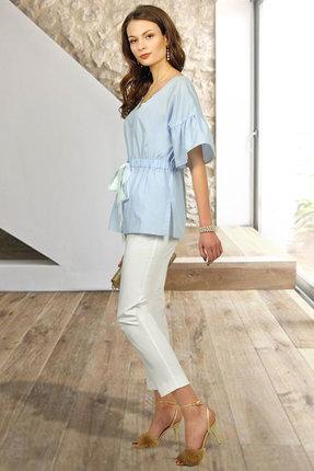 Комплект брючный Миа Мода 1022 голубой с молочным
