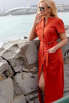 Купить Платье Vesnaletto 1996-3 терракотовый, Повседневные платья, 1996-3, терракотовый, Лен 75%, ПЭ 25%, , Лето
