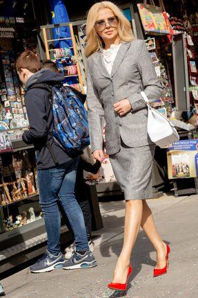 Купить Комплект юбочный Vesnaletto 2046-2 серый, Юбочные, 2046-2, серый, Жакет и юбка: Лен 100%. Блузка: Лен 40%, хлопок 60%., Мультисезон