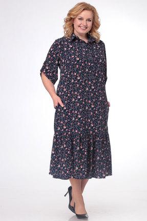 Купить Платье KetisBel 1450 синий с красным, Повседневные платья, 1450, синий с красным, вискоза 75%, п/э 22%, спандекс 3%, Лето