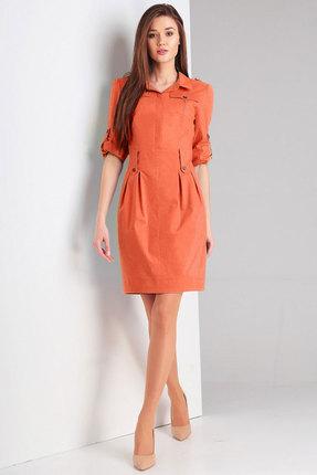 женское повседневные платье милора-стиль, рыжее