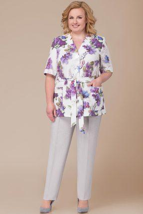 Комплект брючный Svetlana Style 1219 светлые тона с цветами
