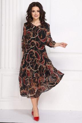 Купить Платье Solomeya Lux 562 черный с красным, Повседневные платья, 562, черный с красным, Шифон (полиэстер 100%), Лето