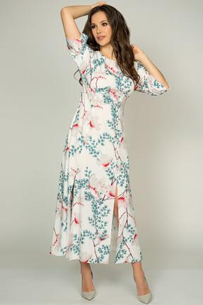 Купить Платье Teffi style 1401 магнолия, Повседневные платья, 1401, магнолия, Ткань – шифон-стрейч, Мультисезон