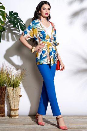 Комплект брючный Lissana 3678 синий с цветами, Брючные, 3678, синий с цветами