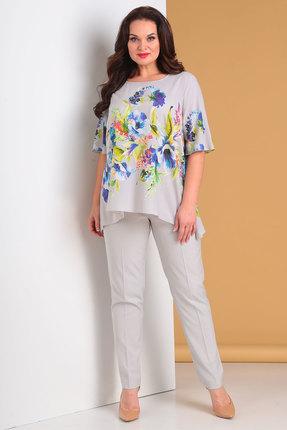 Купить Комплект брючный Denissa Fashion 1248 серый с молочным, Брючные, 1248, серый с молочным, Состав блузки: полиэстер 100% Состав брюк: полиэстер 97%, спандекс 3%, Лето