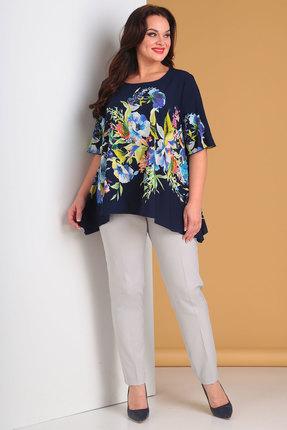 Купить Комплект брючный Denissa Fashion 1248 синий с серым, Брючные, 1248, синий с серым, Состав блузки: полиэстер 100% Состав брюк: полиэстер 97%, спандекс 3%, Лето