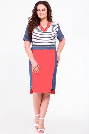Купить Платье Avanti Erika 641-2 синий с красным, Повседневные платья, 641-2, синий с красным, вискоза 72%, ПЭ 25%, спандекс 3%, Лето