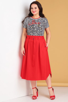 Фото - Комплект юбочный Denissa Fashion 1235 красный красного цвета