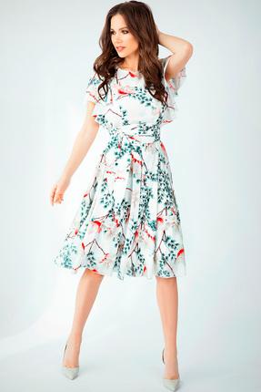 Купить Платье Teffi style 1403 магнолия, Повседневные платья, 1403, магнолия, Ткань – шифон-стрейч. 95% ПЭ 5% сп., Мультисезон