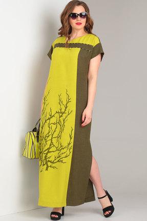 Фото - Платье Viola Style 0853 хаки с желтым цвет хаки с желтым