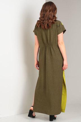 Фото 2 - Платье Viola Style 0853 хаки с желтым цвет хаки с желтым
