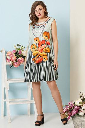 Платье Olga Style с532 серый с оранжевым