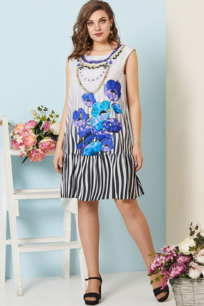 Платье Olga Style с532 серый с синим
