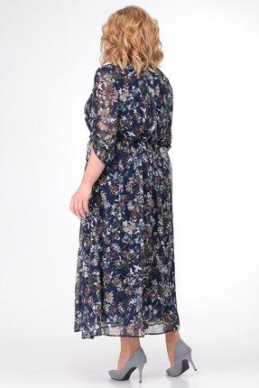 Фото 2 - Платье KetisBel 1421 синий с цветным цвет синий с цветным