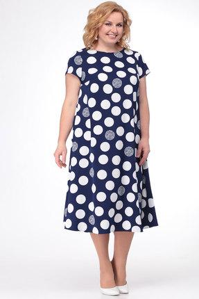 Фото 2 - Платье KetisBel 1458 синий с белым цвет синий с белым