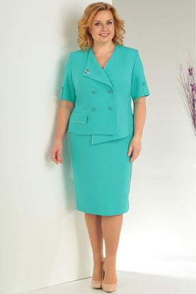 Купить Комплект юбочный Milana 127 бирюзовый, Юбочные, 127, бирюзовый, костюмно-плательная Состав: полиэстер 44%, вискоза 39%, лен 17%, Мультисезон