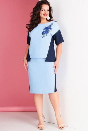 Комплект юбочный Ксения Стиль 1652 голубой с синим