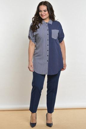Фото - Комплект брючный Lady Style Classic 1577 синий с белым цвет синий с белым